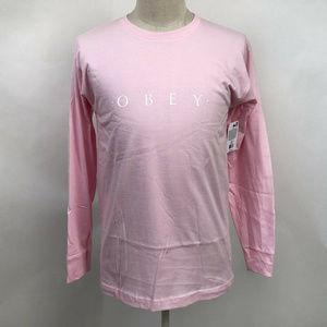 "Obey Long Sleeve T-Shirt ""Novel"" Pink Extra Large"